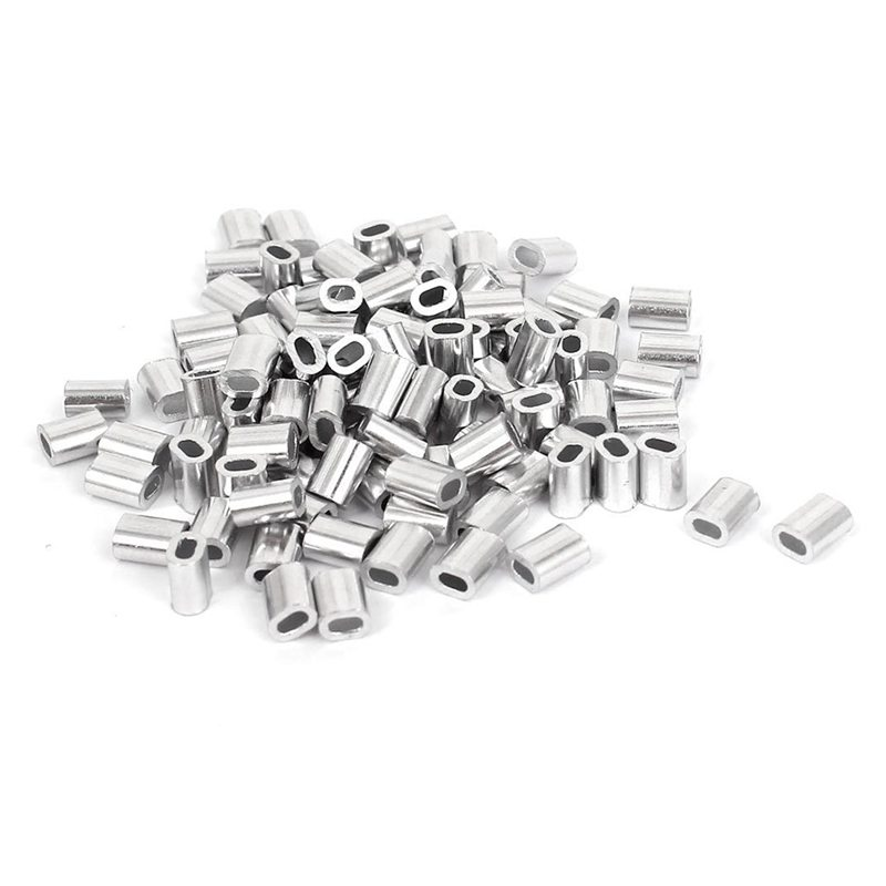 100 Pcs 1mm Steel Wire Rope Aluminum Ferrules Sleeves Silver Tone ...