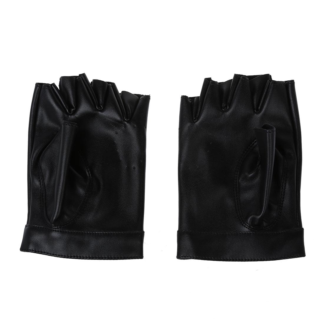 damen pu leder niete fingerlose handschuhe schwarz o1o5 ebay. Black Bedroom Furniture Sets. Home Design Ideas
