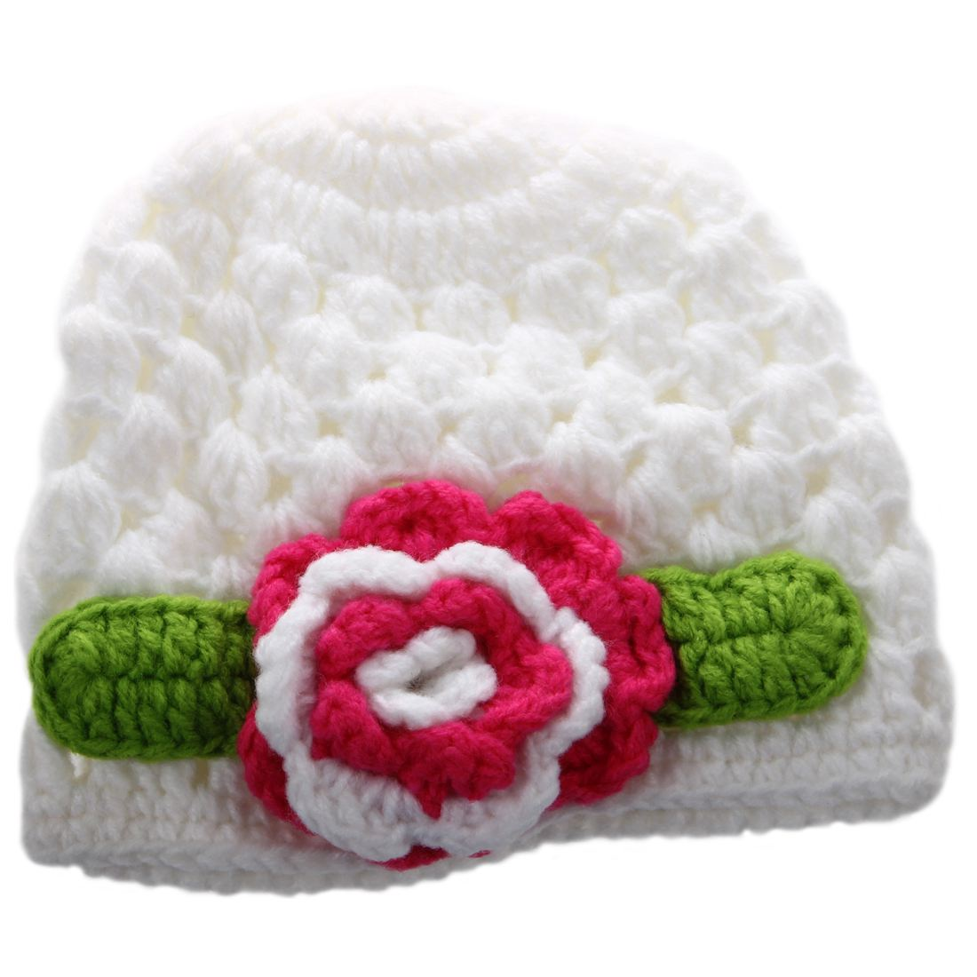 4230b608ba5 1X(Baby Flower Crochet Beanie Handmade Hat Winter Knit Cap (White ...
