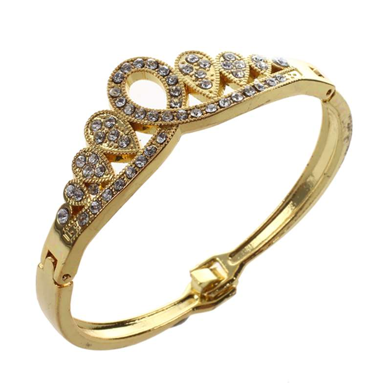 Women-039-s-Girl-039-s-Yellow-Gold-Plated-Charming-Crystal-Crown-Bracelets-amp-Bangle-P1X2