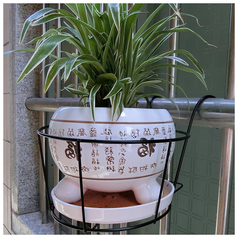 Metal-Iron-Flower-Pot-Hanging-Balcony-Garden-Plant-Planter-Home-Decor-baske-Q3F3 thumbnail 13