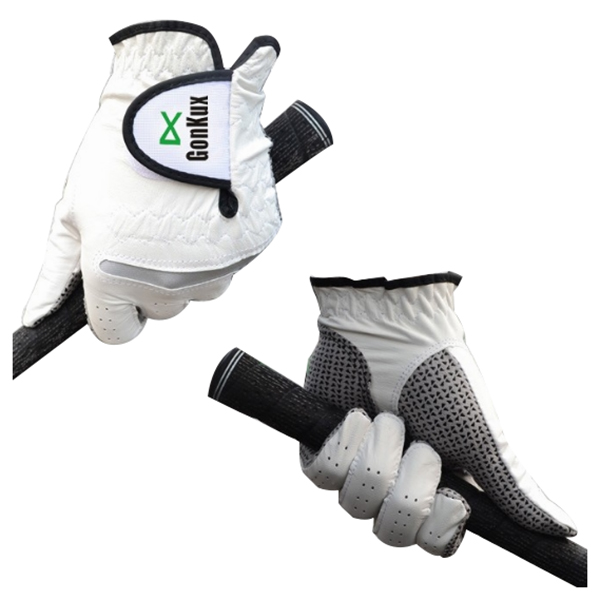 GONKUX Men's non-slip golf gloves Anti-skid leather gloves Left hand E1Y6