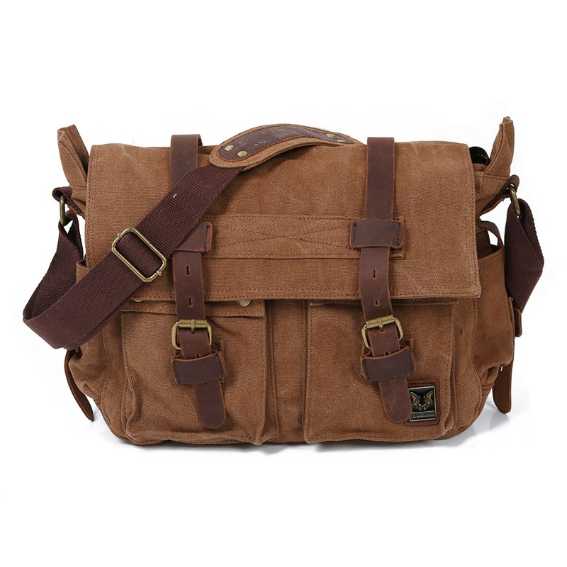 71820c244b Details about MUCHUAN Men s Canvas Leather School Shoulder Bag Messenger  Sling Crossbody O7J3