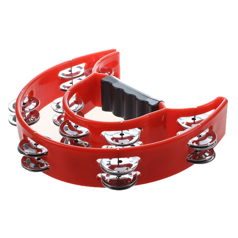 Hand Held Tambourine Double Row Metal Jingles Percussion Red E2D3