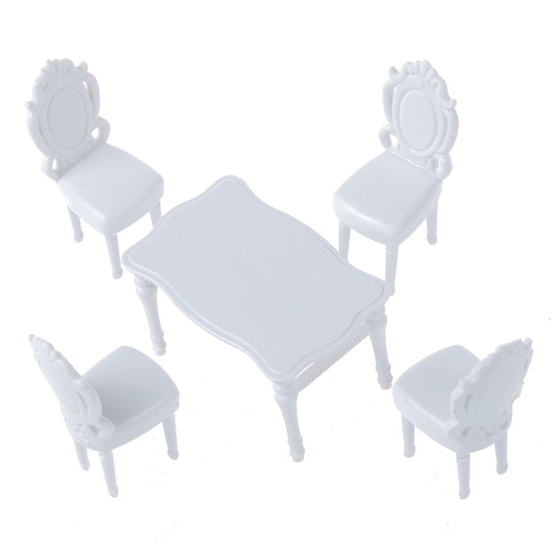 5pcs Dining Room Model Set Includes A Dining Table And Four Chairs. Can Be  Used As Indoor Scenery Model. Great Accessory For Doll House