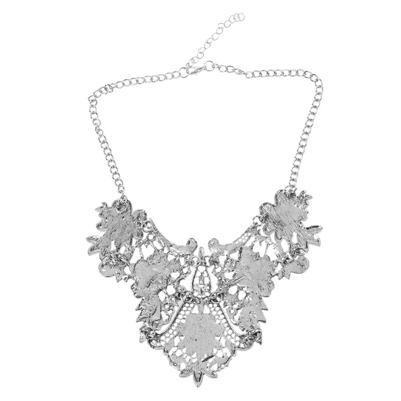 1X-Retro-Hollow-flowers-Clavicle-chain-Silver-Y3F7 thumbnail 2