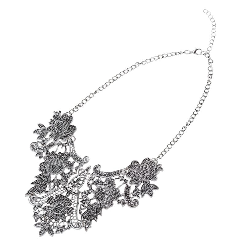 1X-Retro-Hollow-flowers-Clavicle-chain-Silver-Y3F7 thumbnail 3