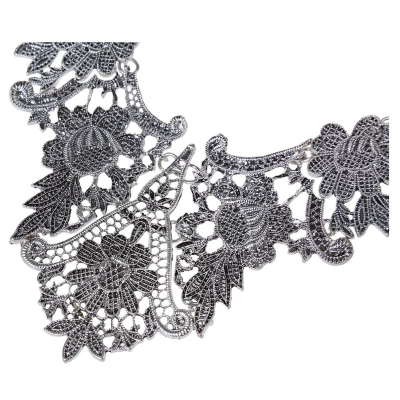 1X-Retro-Hollow-flowers-Clavicle-chain-Silver-Y3F7 thumbnail 4