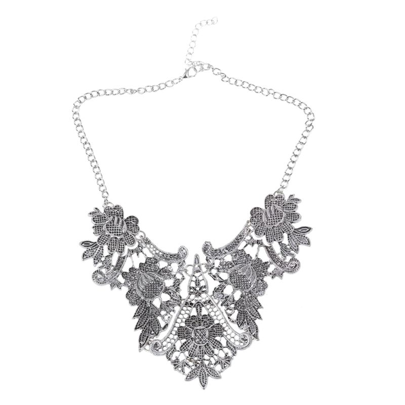 1X-Retro-Hollow-flowers-Clavicle-chain-Silver-Y3F7