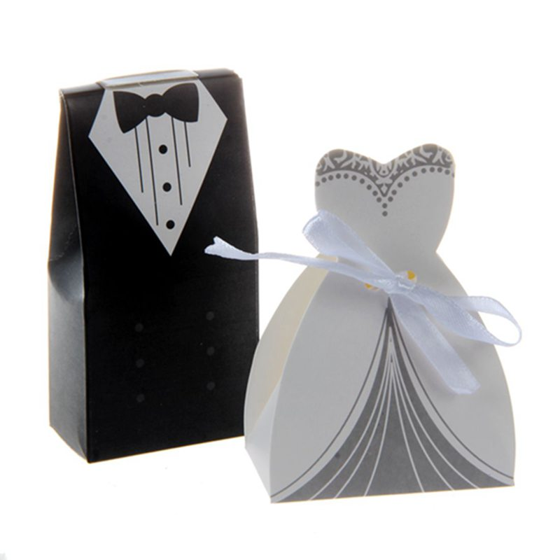 100pcs Tuxedo Dress Groom Bridal Candy Gift Boxes Wedding Party