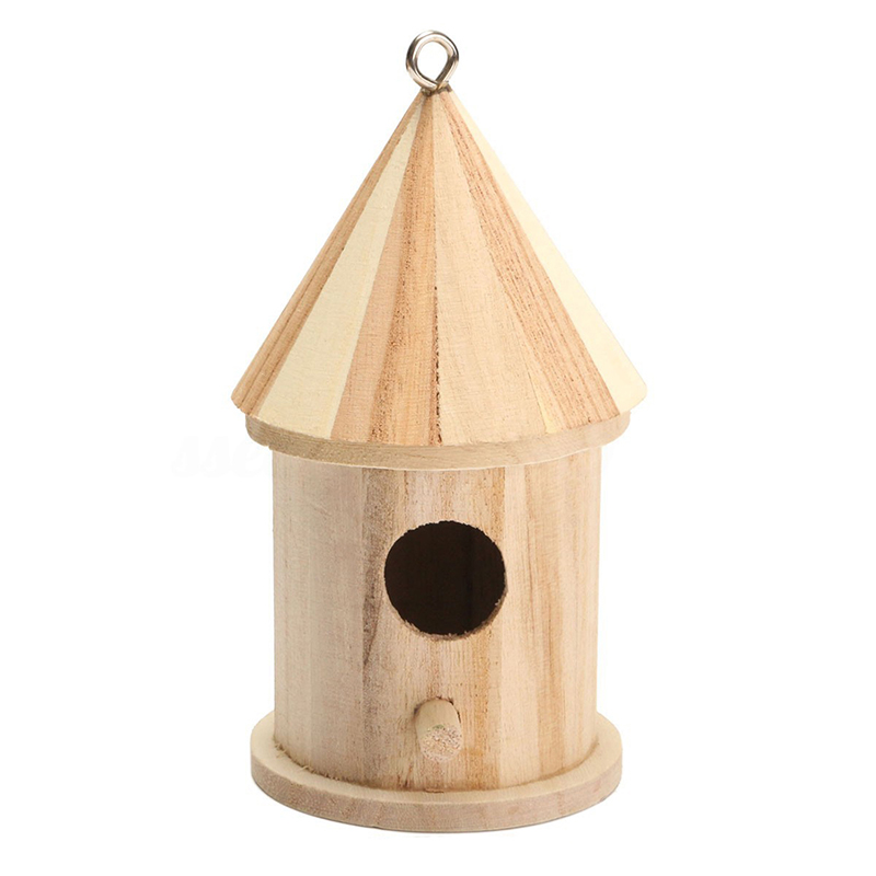 Wooden Bird House Birdhouse Hanging Nest Nesting Box With Hook Home Garden Decor
