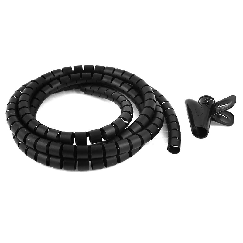 2m 6.6ft 15mm Inner Dia Black Spiral Cable Organizer Wrap w Wire ...