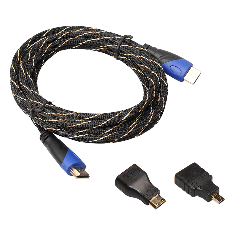 Full-HD-3-In-1-HDMI-TO-HDMI-Mini-HDMI-Micro-HDMI-Cable-V1-4-Gold-plating-Ad-T7J9