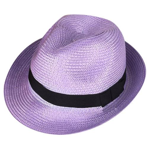 Unisex Summer Beach Panama Sun Hat Cuban Style Cap Light purple Z8S6 82c72235c09