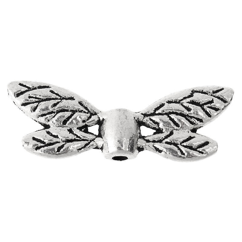 100PCs Metal Beads Silver Tone Dragonfly Wing 22mm x8mm Y1X6