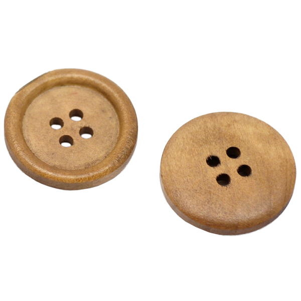 5X-50x-Light-Coffee-4-Holes-Round-Wood-Sewing-Buttons-25mm-Dia-V9Z5