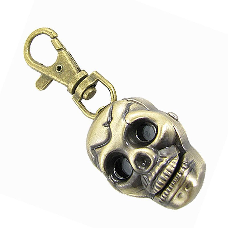 5X-Skull-Shape-Pendant-Key-Ring-Quartz-Watch-Bronze-E7X7
