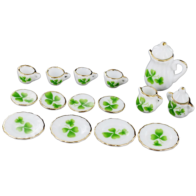 15x Dining Ware Clover Porcelain Tea Coffee Set for 1:12 Dollhouse Miniature