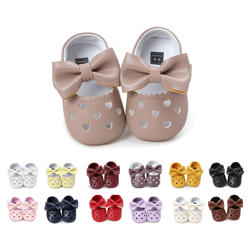 Leather Newborn Baby Girls Princess HeartShaped Soft Bot Shoes White 06 9P4
