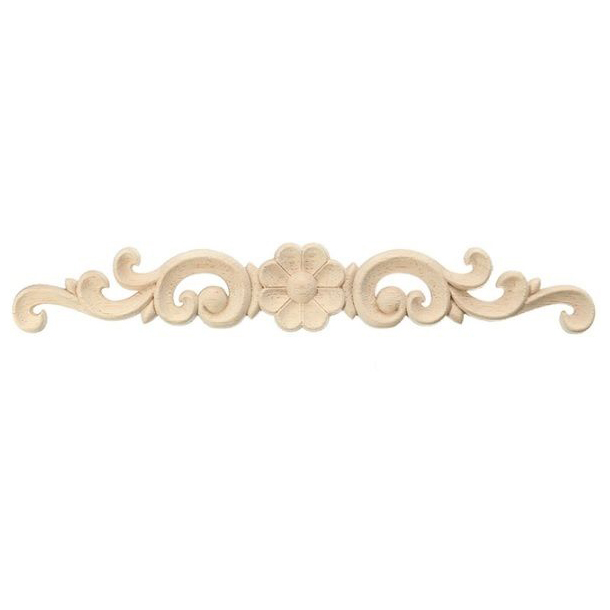 Exquisite Classic Wood Carved Flower Applique Furniture Natural SIZE:16 x 3CM vf