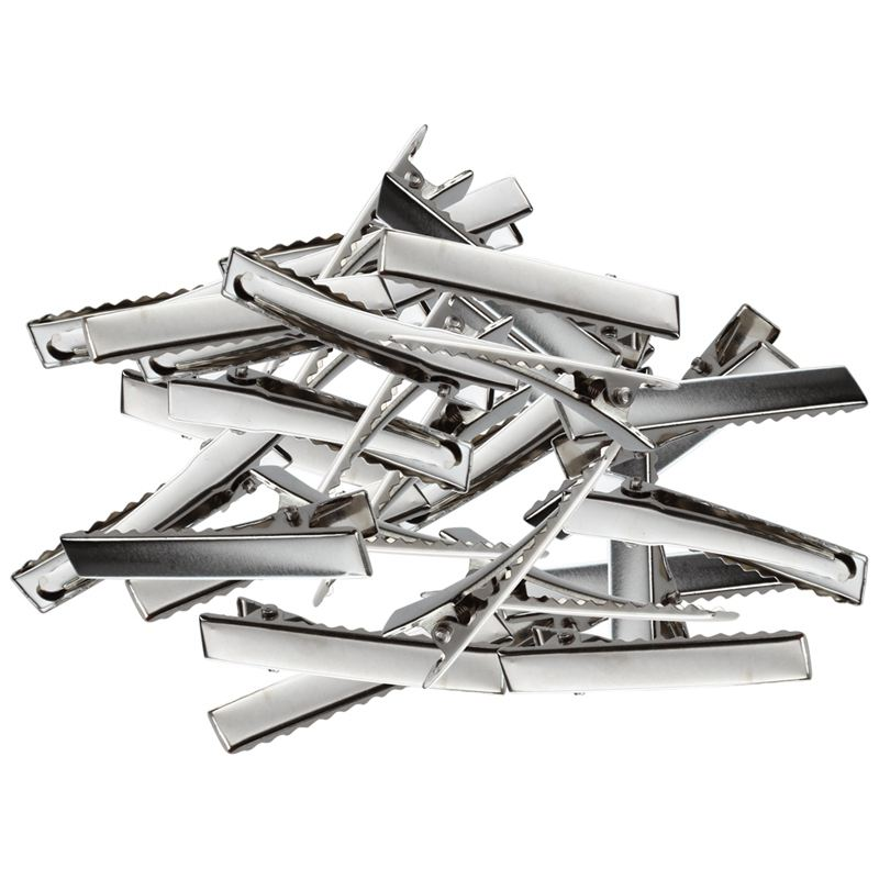 50-Silver-Tone-Alligator-Clips-Prong-Barrettes-Hair-Clips-46x8mm-H5J8