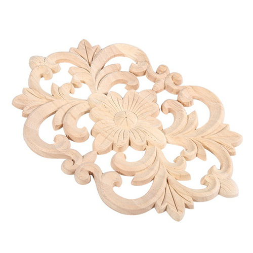 5X-1x-Rubber-Wood-Carved-Onlay-Applique-Unpainted-Furniture-for-Home-Door-C-M2L1