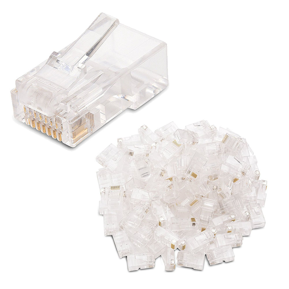 100 Pack Cat 6 Rj45 Modular Plugs For Stranded Utp Cable A3q8 K3r3 Connector Plug V6d2