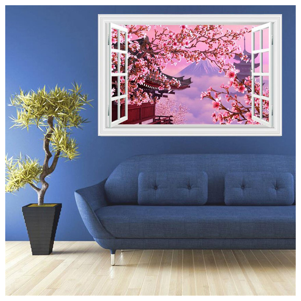 mount fuji cherry blossoms fake windows wall stickers landscape faux