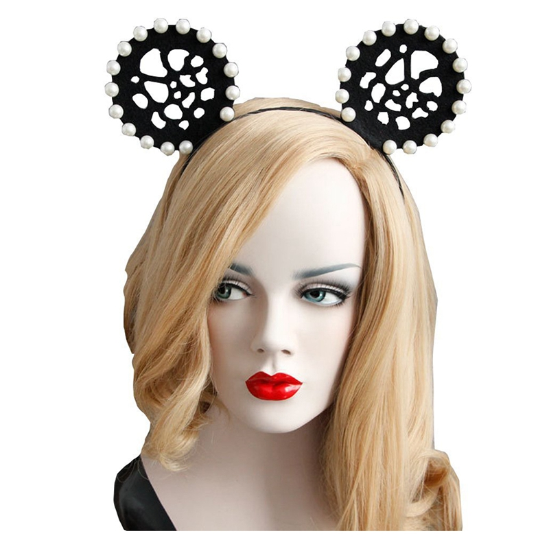 Image is loading Halloween-Fashion-Queen-Black-Lace-Headbands-Girl-Large- 2e7bb37ae5b