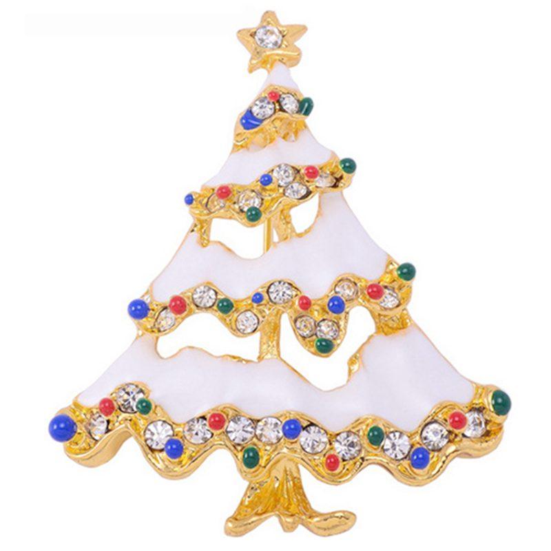 Cute Christmas Tree Alloy Brooch Pin Party Decoration Rhinestone ...