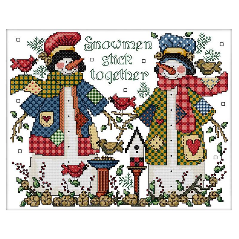 2X(Kreuzstich Ausstattung Stickpackung - Weihnachts Schneemann Paar ...