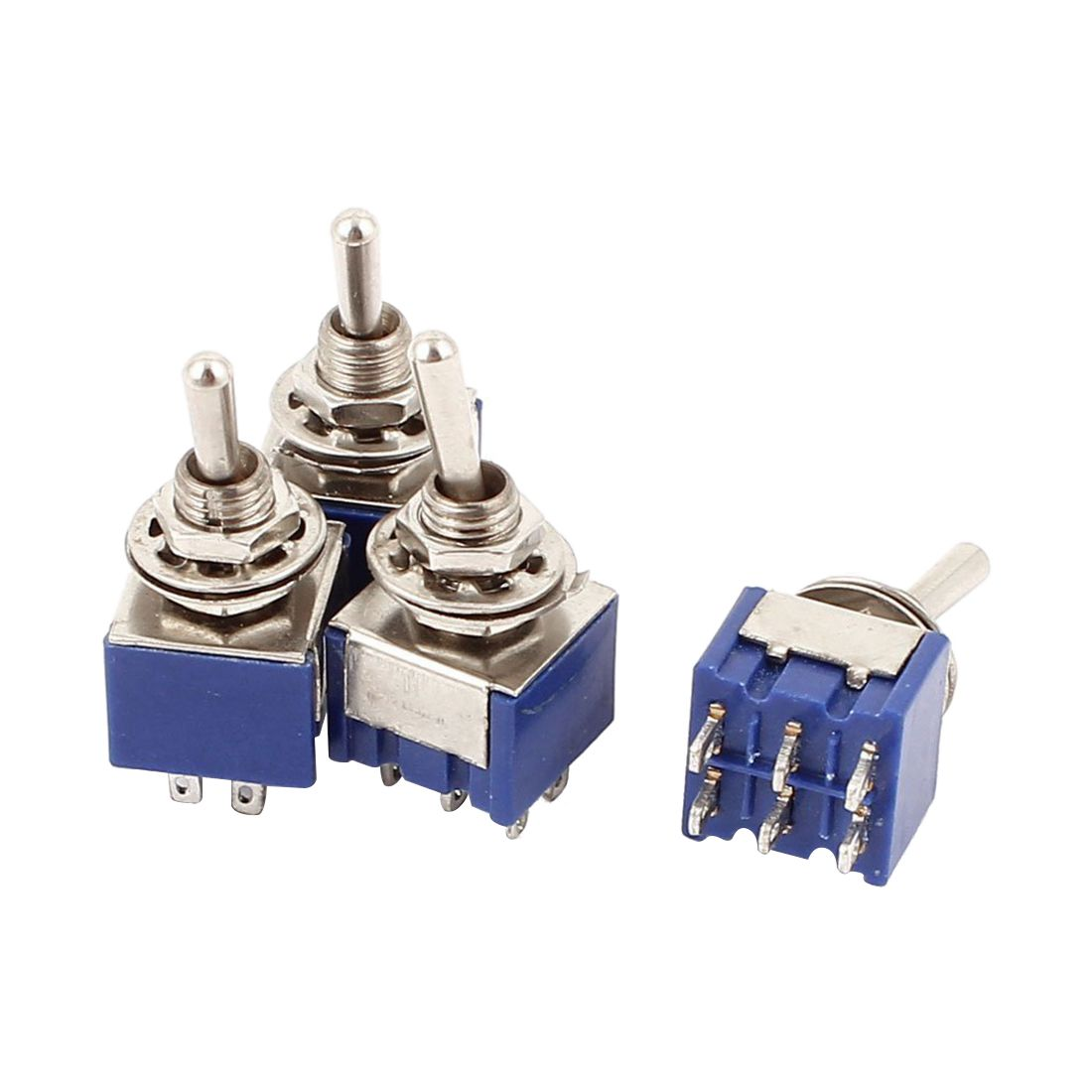 Ac 6a 125v 2 Position 6pins Dpdt On Off Mini Toggle Switch 4 Pcs Latching Spst Push Button 1 Circuit 3a 250v Offon Ebay Image Is Loading