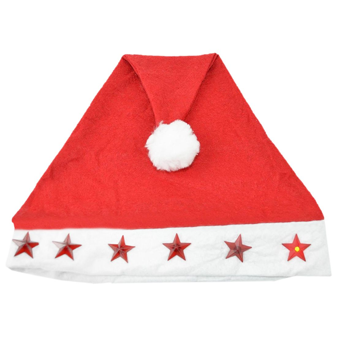 New Santa Hat with Flashing Lights Adult Size