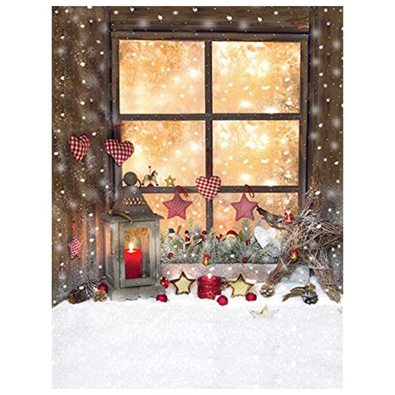 2x 5x7ft vinyl weihnachten fenster fotografie hintergrund. Black Bedroom Furniture Sets. Home Design Ideas