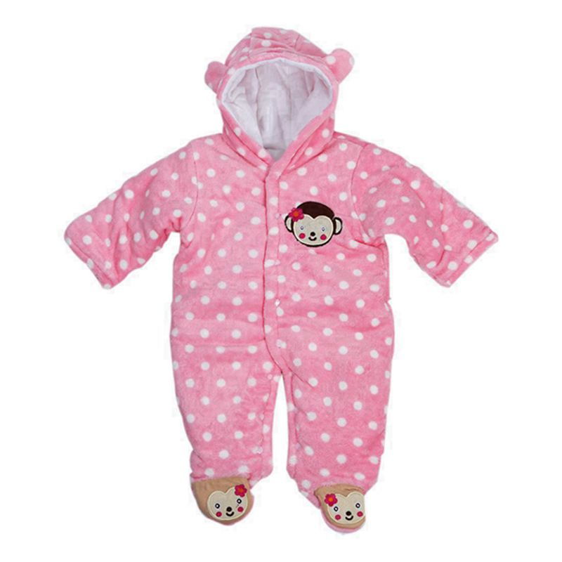 Baby's Toddler Velour Winter Autumn Cute Footed Jumpsuit Front Button Pink J8R2