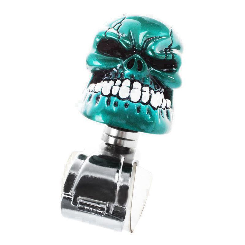 2x( Car Bleue Skull Head Style Bouton Du Volant Poignee De Ton Argente U4d6)