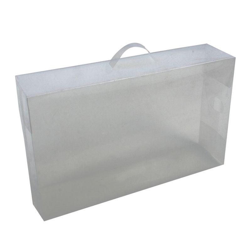 Ladies-Knee-High-Boot-Stackable-Plastic-Shoe-Box-Storage-Foldable-White-B7R5