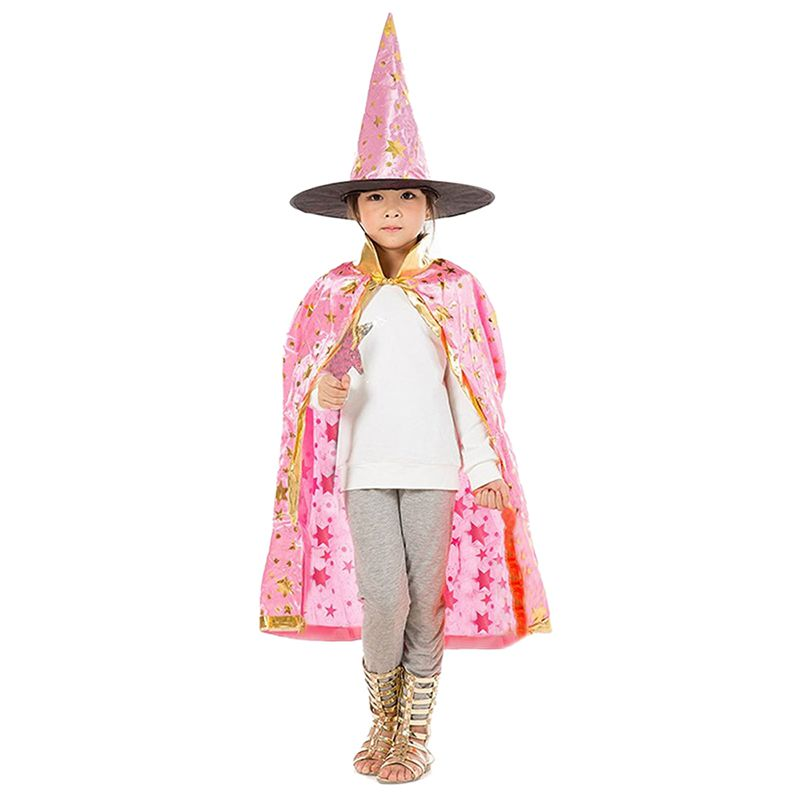 Halloween-Costumes-Witch-Wizard-Cloak-with-Hat-for-Kids-Boys-Girls-Pink-F6O7