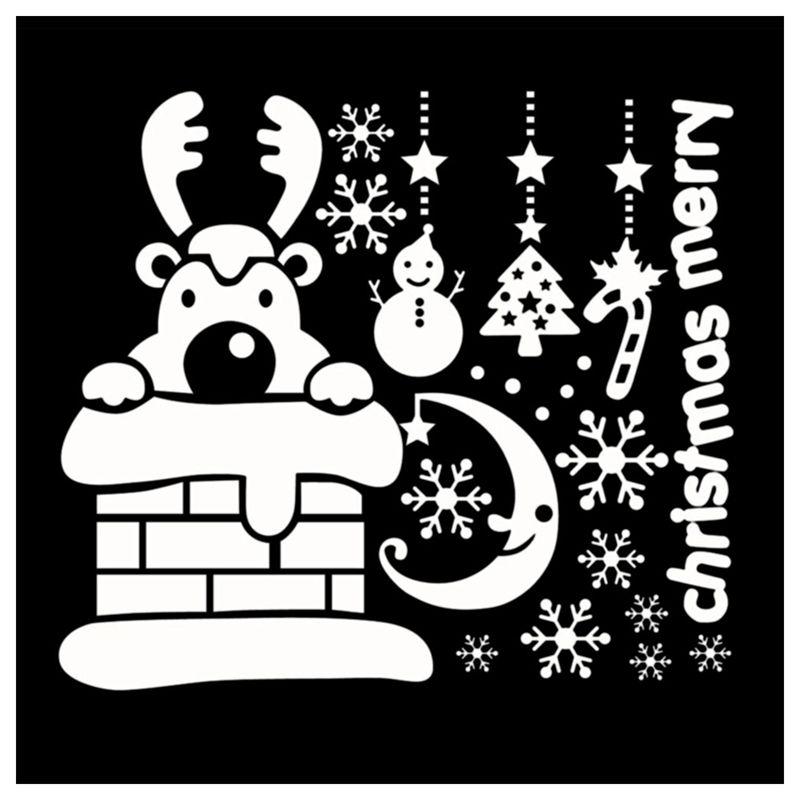 Pegatinas-de-pared-de-Feliz-Navidad-Feliz-Ano-Nuevo-Munecos-de-nieve-Copos-S6A1 miniatura 3