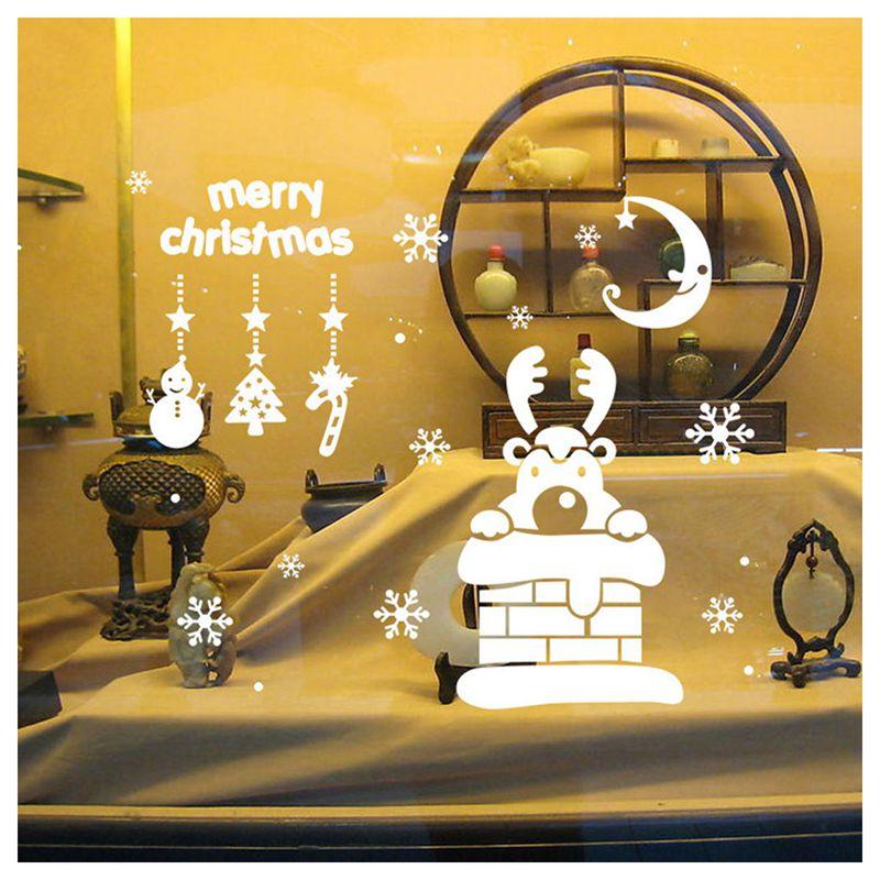 Pegatinas-de-pared-de-Feliz-Navidad-Feliz-Ano-Nuevo-Munecos-de-nieve-Copos-S6A1 miniatura 4