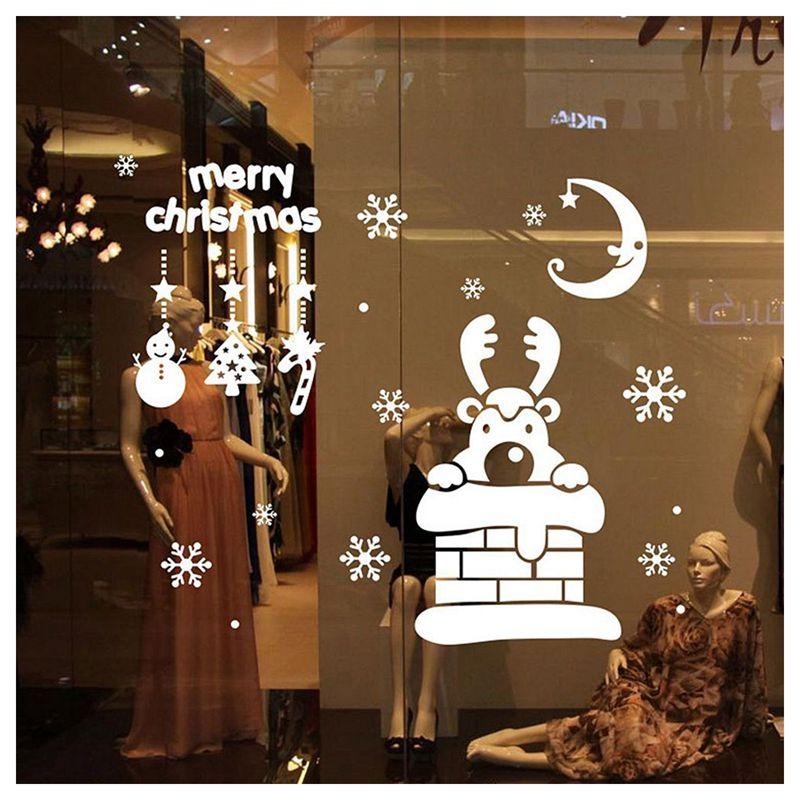 Pegatinas-de-pared-de-Feliz-Navidad-Feliz-Ano-Nuevo-Munecos-de-nieve-Copos-S6A1 miniatura 5