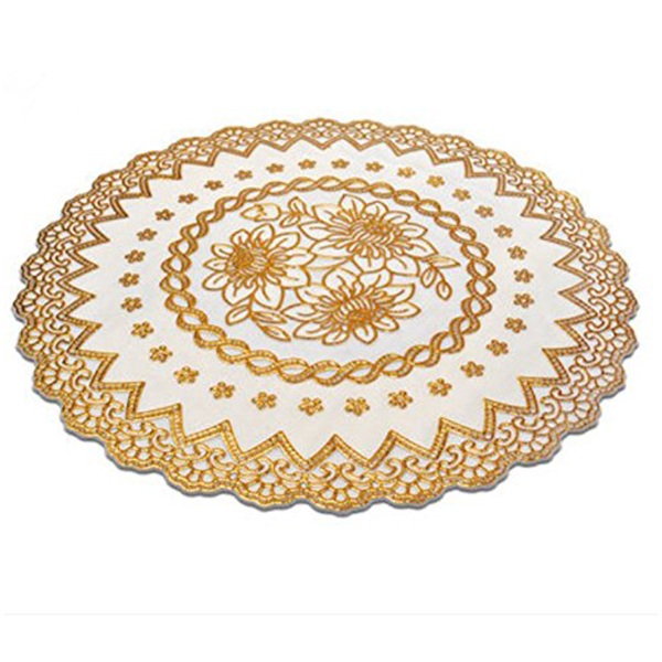 4X Gold Stamping PVC Waterproof Placemats Coaster heat resistant table mats B8J3