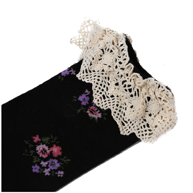 725c7bfb49b Baby Girls Teens Little Lace Flower High Socks Knee High in Tube Sock Stock  K9o6 Black. About this product. Picture 1 of 6  Picture 2 of 6  Picture 3  of 6 ...