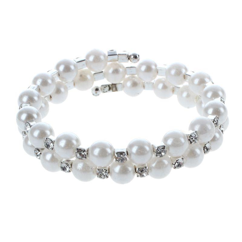 Ladies-Gift-Pearl-Bracelet-with-Crystal-Rhinestone-White-2-Strand-I2M5