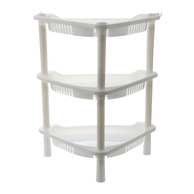 3 Tier Plastic Corner Shelf Organizer Cabinet Bathroom