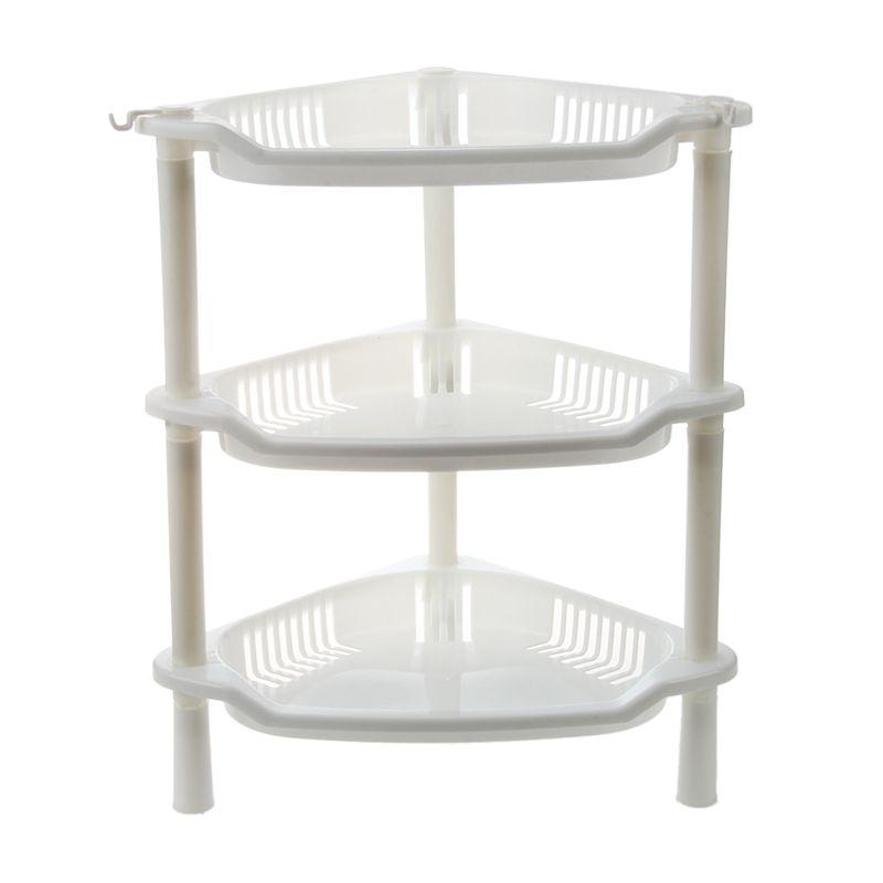 3 Tier Plastic Corner Shelf Organizer Cabinet Bathroom Kitchen Sundries Sto A6J3