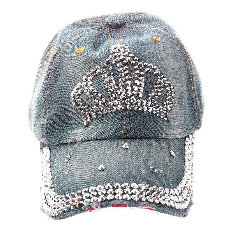 57d9654013a107 Women Girls Outdoor Rhinestone Crown shape Denim Baseball Cap Hat Dark blue  J1N7