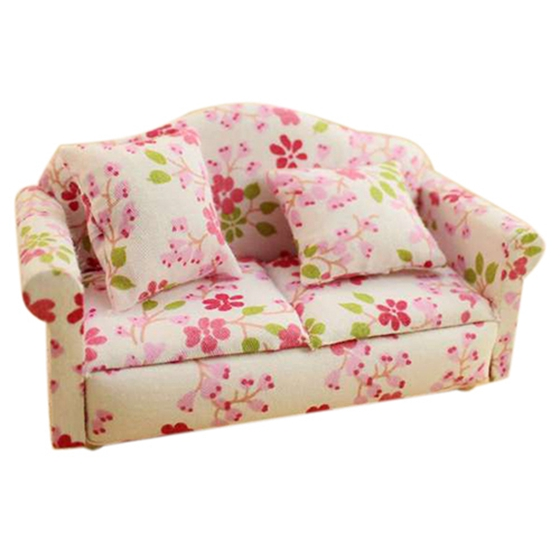 Dollhouse Miniature Furniture Flower Print Double Seat Sofa with Cushion D8 S4O2