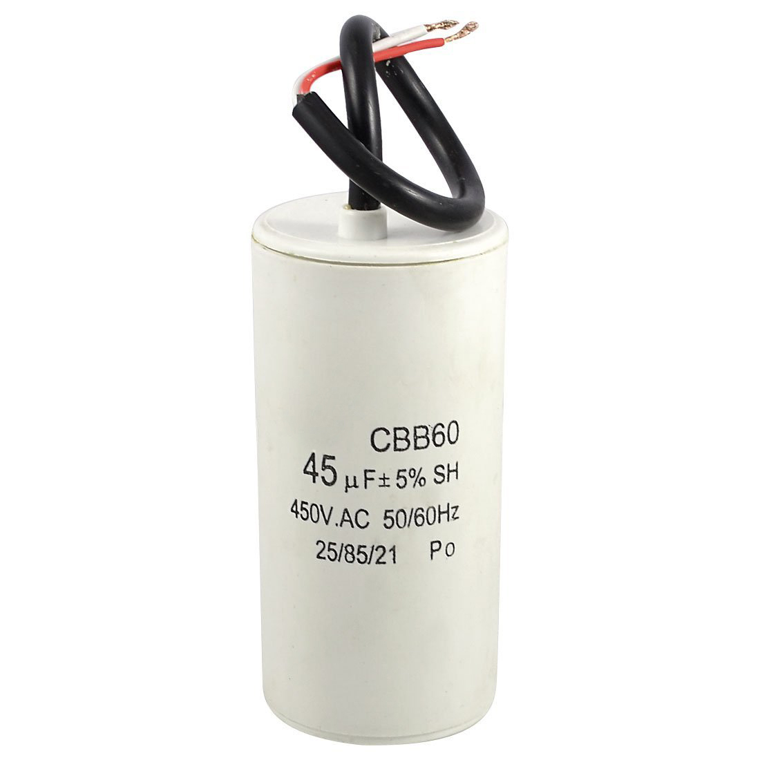 White Plastic Shell 45uf 50 60hz 450vac Cbb60 Motor Start Capacitor How Does A Work Features 2 Wire Cord Polypropylene Film It Is Non Polar Widely Used In Washing Machine For Better Starting And Working