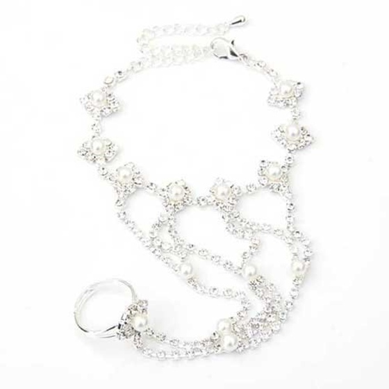 41452e5fd Silver Plated Crystal Rhinestone Pearl Beads Finger Ring Bracelet ...